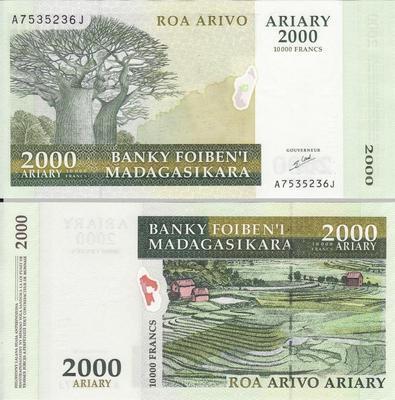 2000 ариари (10000 франков) 2003 Мадагаскар.