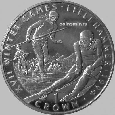 1 крона 1993 Гибралтар. Олимпиада в Лиллехаммере 1994.