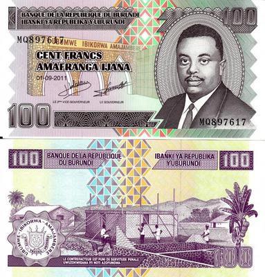 100 франков 2011 Бурунди.