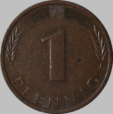 1 пфенниг 1974 J  ФРГ. (в наличии 1991 А)