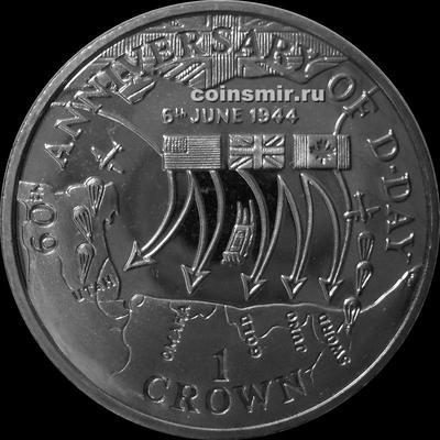 1 крона 2004 остров Мэн. План высадки войск в Нормандии.