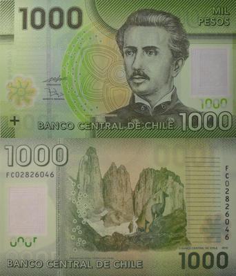 1000 песо 2010 Чили.