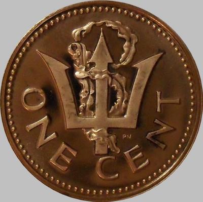 1 цент 1973 Барбадос. Пруф.