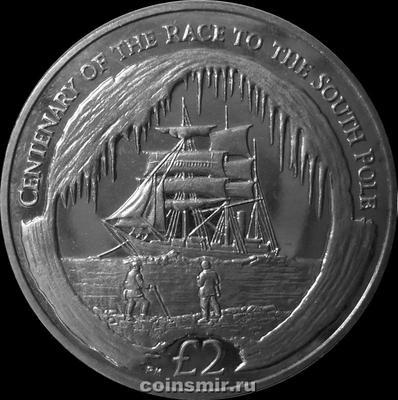 2 фунта 2010 Южная Георгия и Южные Сандвичевы острова. 100 лет путешествию к Южному полюсу.