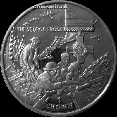 1 крона 2004 остров Мэн. Георгиевский крест Великобритании.