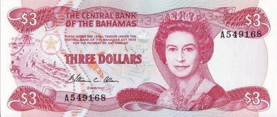 3 доллара 1984 Багамские острова.