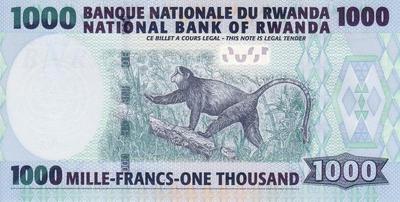 1000 франков 2008 Руанда.