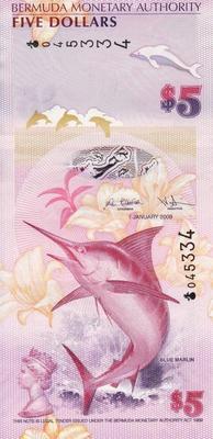 5 долларов 2009 Бермуды.