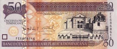 50 песо 2011 Доминиканская республика. (в наличии 2008 год)