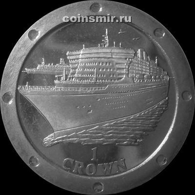 1 крона 2004 остров Мэн. Океанский лайнер Королева Мэри 2.