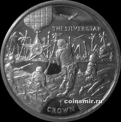 1 крона 2004 остров Мэн. Серебряная звезда.