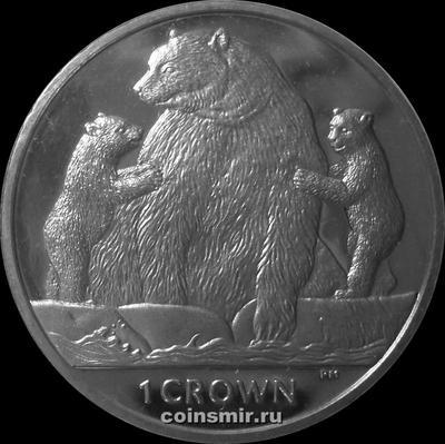 1 крона 2013 остров Мэн. Медведи.