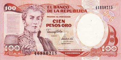 100 песо 1991 Колумбия.