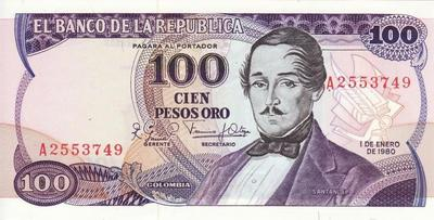 100 песо 1980 Колумбия.