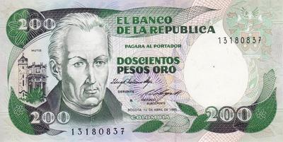 200 песо 1985 Колумбия.