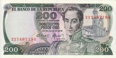 200 песо 1978 Колумбия.