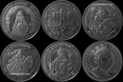 Набор из 5 монет 1996 остров Мэн. Легенда о короле Артуре.