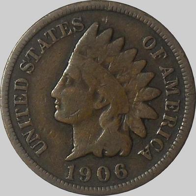 1 цент 1906 США. Индеец.