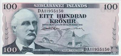 100 крон 1961 Исландия.