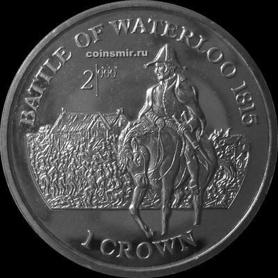 1 крона 1999 остров Мэн. Битва при Ватерлоо. Наполеон.