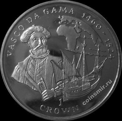1 крона 1998 Остров Мэн. Васко да Гама.