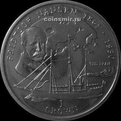 1 крона 1997 остров Мэн. Фритьоф Нансен. Буклет.