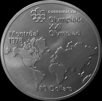 10 долларов 1973 Канада. Карта мира. Олимпиада в Монреале 1976.