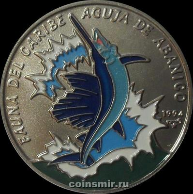 1 песо 1994 Куба. Рыба-парусник.
