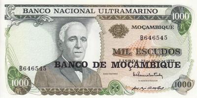 1000 эскудо 1976 на 1000 эскудо 1972 Мозамбик.