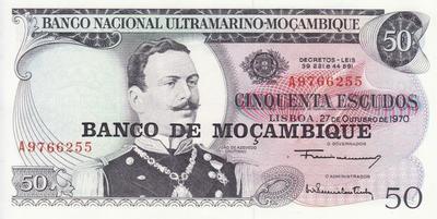 50 эскудо 1976 на 50 эскудо 1970 Мозамбик.