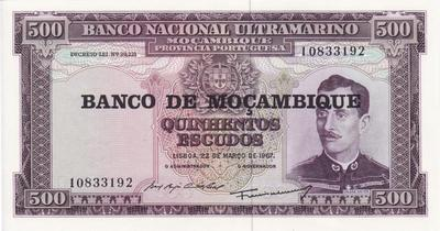 500 эскудо 1976 на 500 эскудо 1967 Мозамбик.