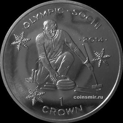 1 крона 2013 остров Мэн. Олимпиада в Сочи 2014. Кёрлинг.