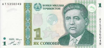 1 сомони 1999 (2010) Таджикистан.
