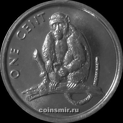 1 цент  2003 Острова Кука. Обезьяна на ветке.