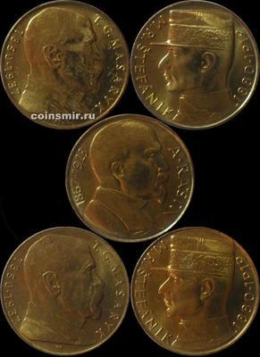 Набор из 5 монет 1990-1993 Чехословакия.