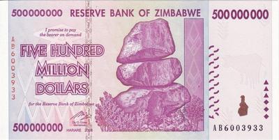 500 миллионов долларов 2008 Зимбабве. Серия АА.