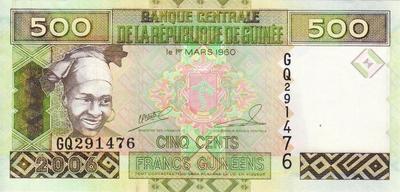 500 франков 2006 Гвинея.