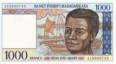 1000 франков (200 ариари) 1994 Мадагаскар.