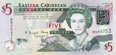 5 долларов 2008 Восточные Карибы.