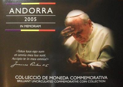 Набор из 8 монет 2005 Андорра. Папа Иоанн-Павел 2.