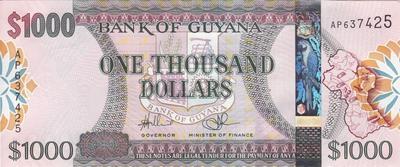 1000 долларов 2011 Гайана.