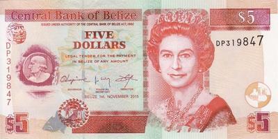 5 долларов 2011 Белиз.