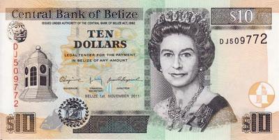 10 долларов 2011 Белиз.
