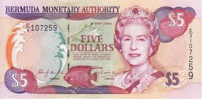 5 долларов 2000 Бермуды.