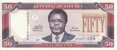 50 долларов 2011 Либерия.