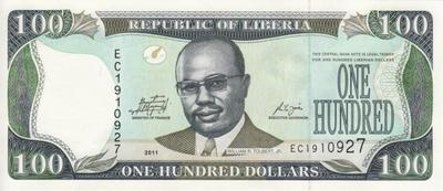 100 долларов 2011 Либерия.