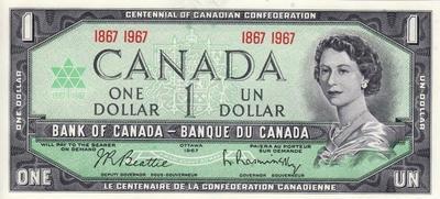 1 доллар 1967 Канада. 100 лет Канадской Конфедерации. (с датой).