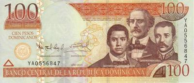 100 песо 2011 Доминиканская республика. ( вналичии 2006 год)