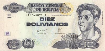 10 боливиано 1986 Боливия.