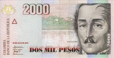 2000 песо 2010 Колумбия.